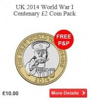UK 2014 World War I Centenary £2 Coin Pack